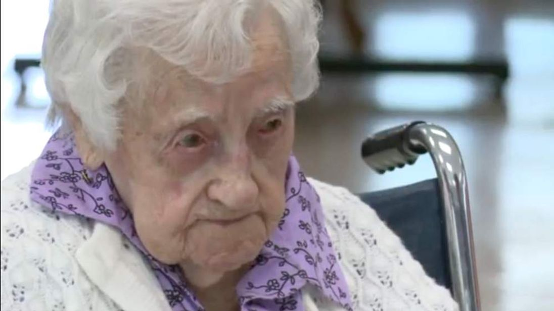 Dina Manfredini is the world's oldest person at 115. Photo credit WHOTV Des Moines.