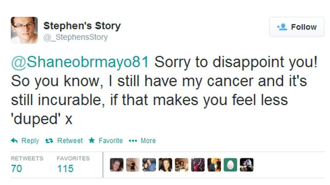 The tweet sent by Stephen Sutton hitting back at claims he has 'duped' people.