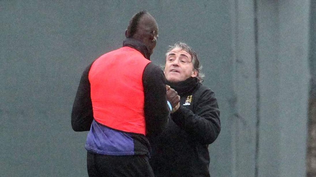 Mario Balotelli and Roberto Mancini clash at Manchester City's training ground: photo credit Eamonn and James Clarke