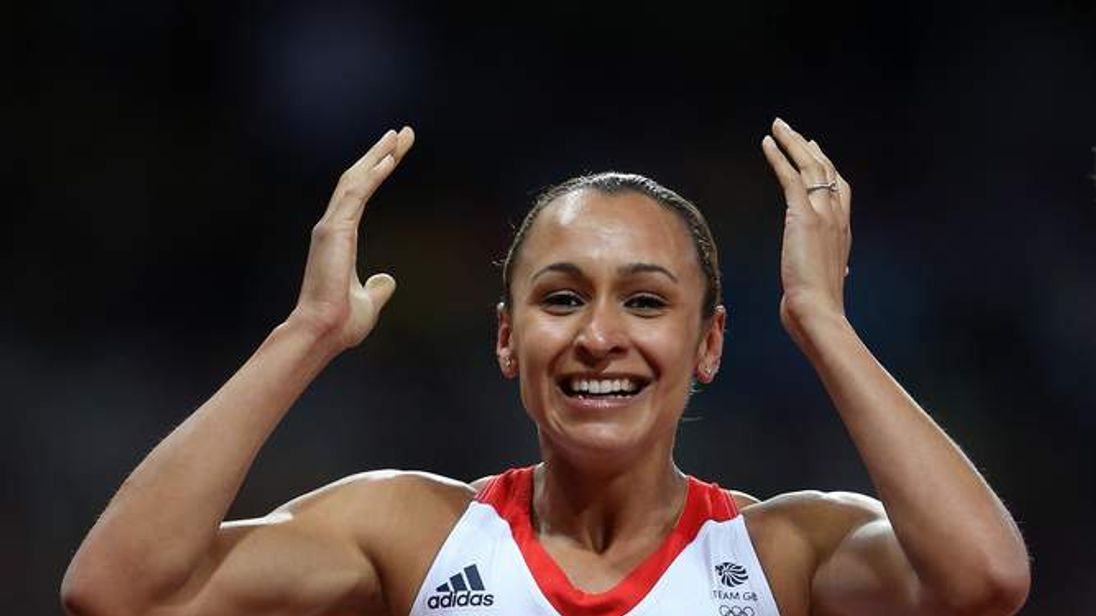 Jessica Ennis wins the gold medal in the Women's two-day Heptathlon with 6955 points