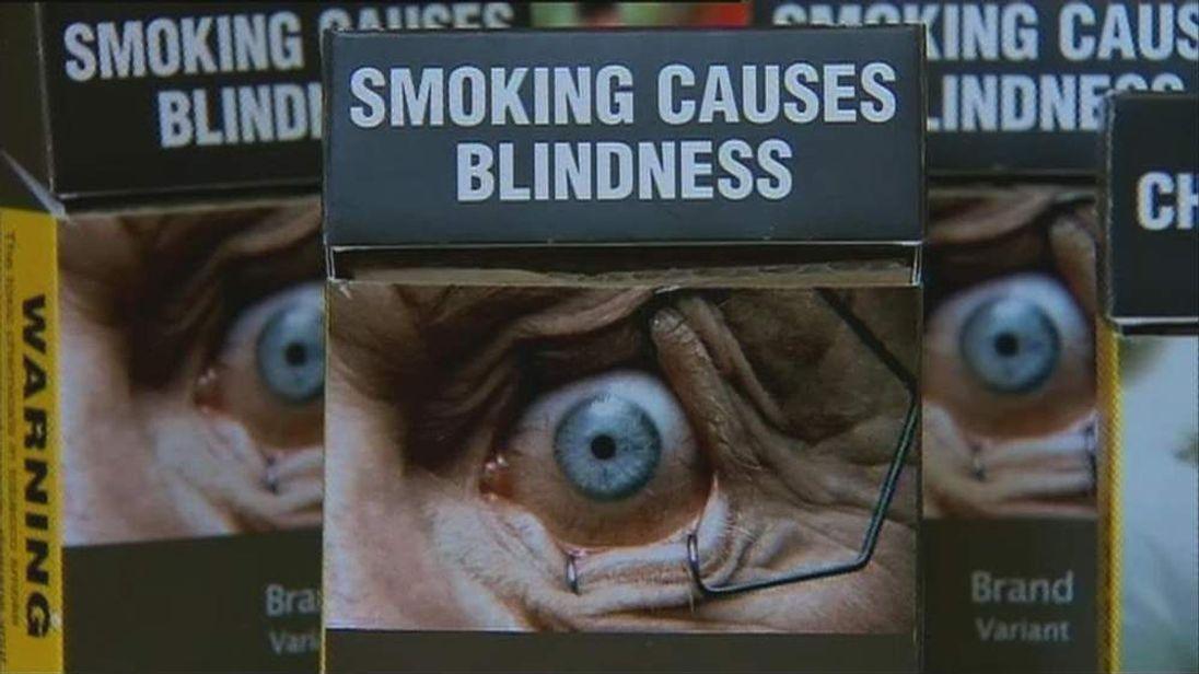 Cigarette packet warning