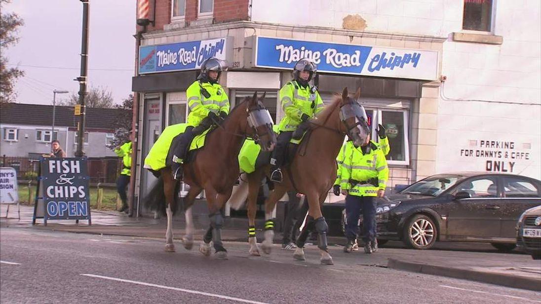 Police horses at Manchester City football