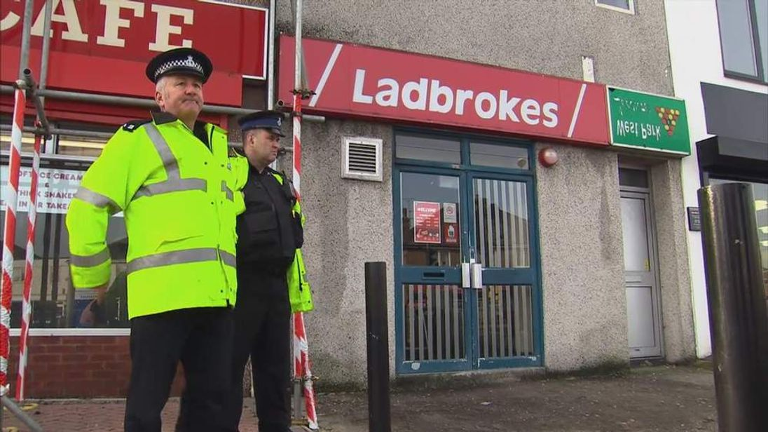 Police at scene of attempted robbery at bookmakers in Plymouth