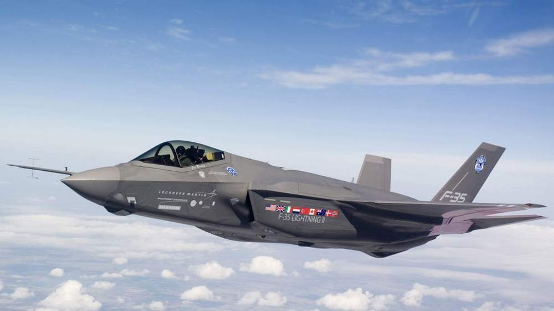 Over Fort Worth, Texas, an F-35 Lightning II test aircraft AA-1 undergoes a flight check.