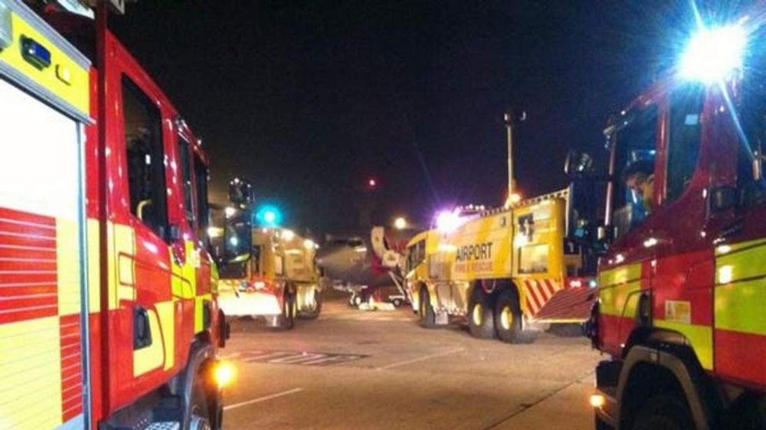 Fire engines at East Midlands airport after burning smell on Jet2 plane
