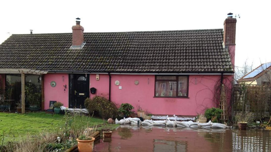 A flooded home in Somerset