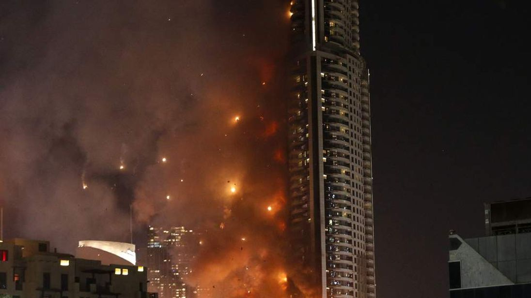 Flames rip through the Address hotel