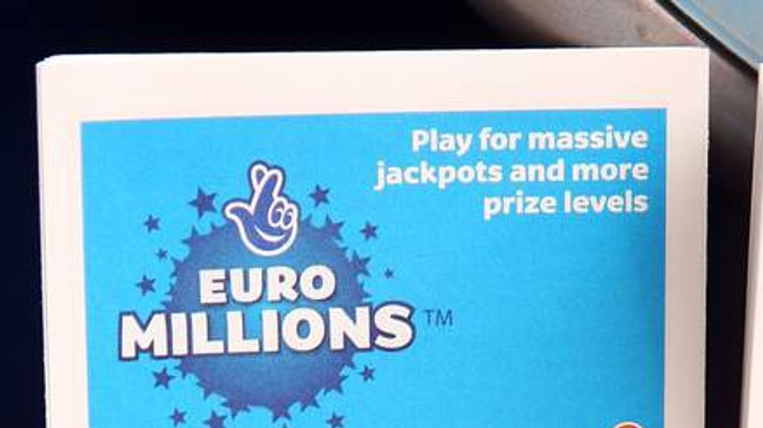 A National Lottery kiosk displays the Euro Millions tickets