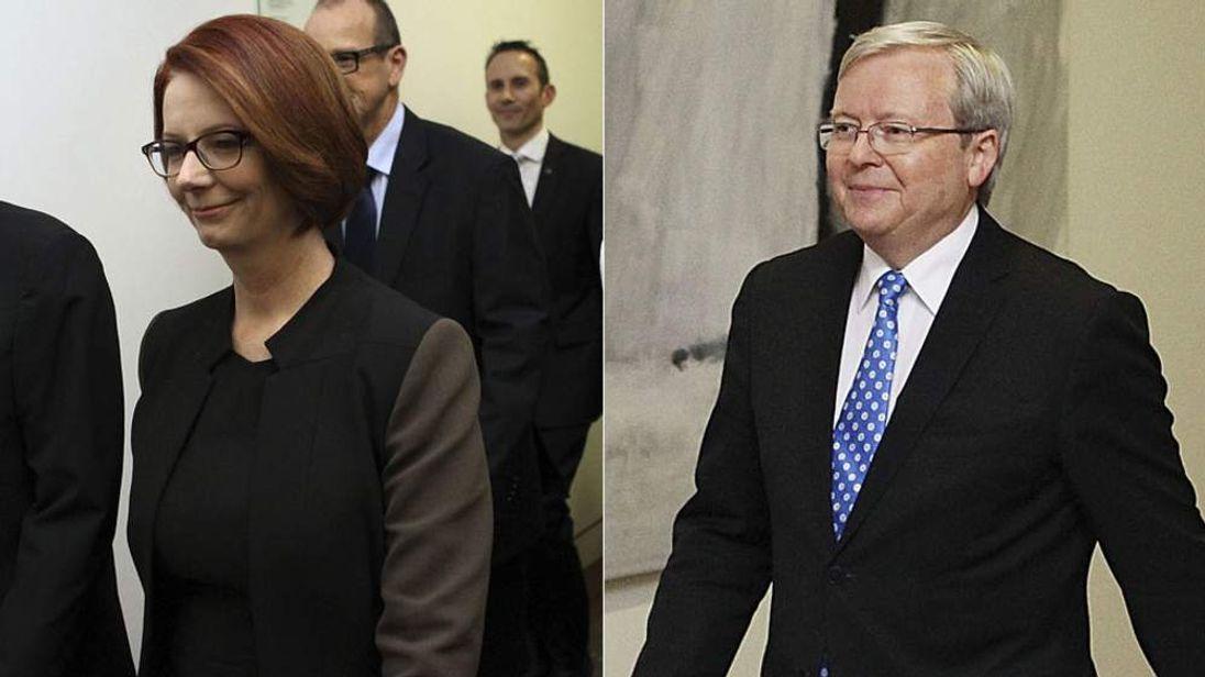 Julia Gillard and Kevin Rudd head to the leadership ballot.