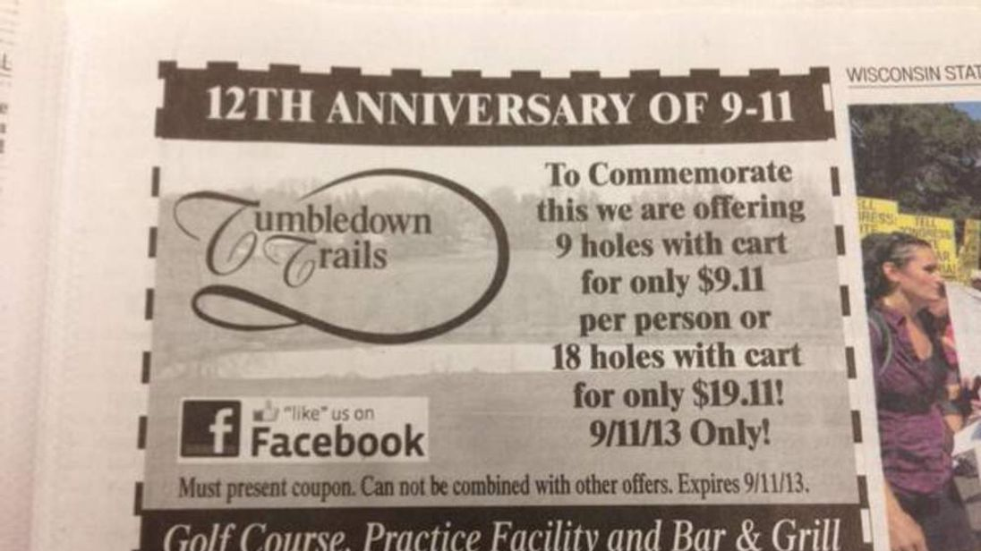 Wisconsin golf ad on 9/11 anniversary (CREDIT: Josh Orton @joshorton)