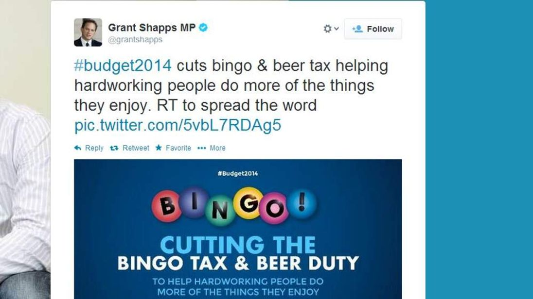 Shapps bingo and beer tweet