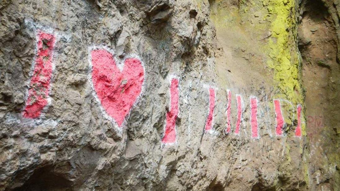 Graffiti at sacred Native American site Pic: Gideon Cauffman