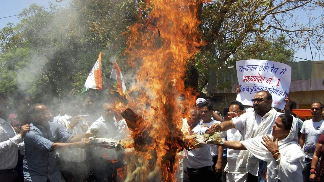 Protest over rapes in India