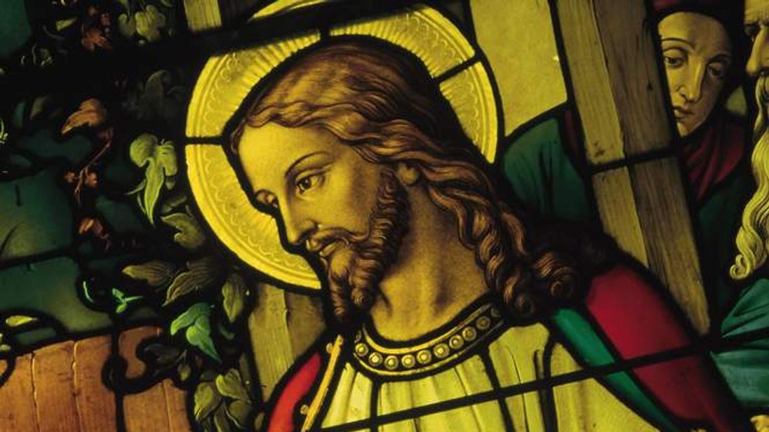 Jesus Christ depicted in stained glass window
