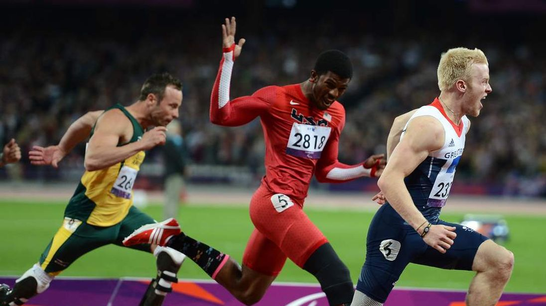 Jonnie Peacock of Great Britain wins the Men's 100m - T44 final on Day 8 of the London 2012 Paralympic Games
