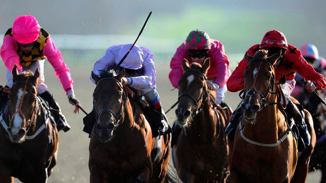 Frankie Dettori on Gone with the Wind, an unsurprising winner at Lingfield