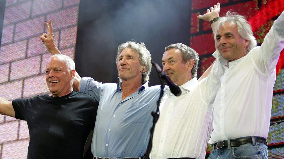 Dave Gilmour, Roger Waters, Nick Mason and Rick Wright of Pink Floyd at Live 8 in Hyde Park.