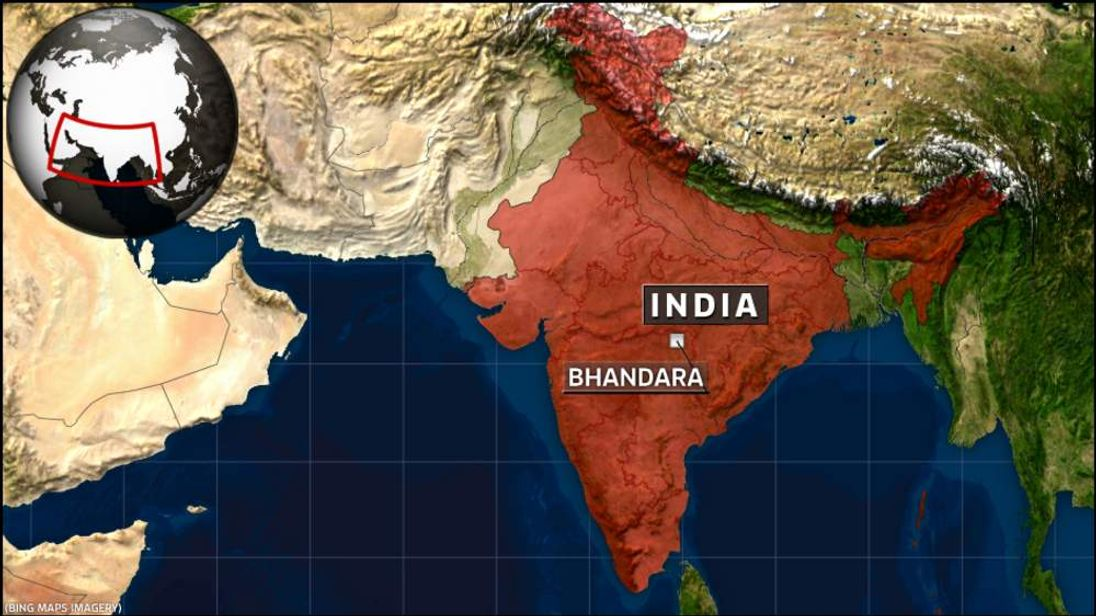 India Map showing Bhandara