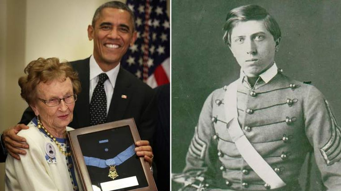 Helen Ensign with President Obama receiving Medal of Honor for her distant cousin Lt Alonzo H Cushing