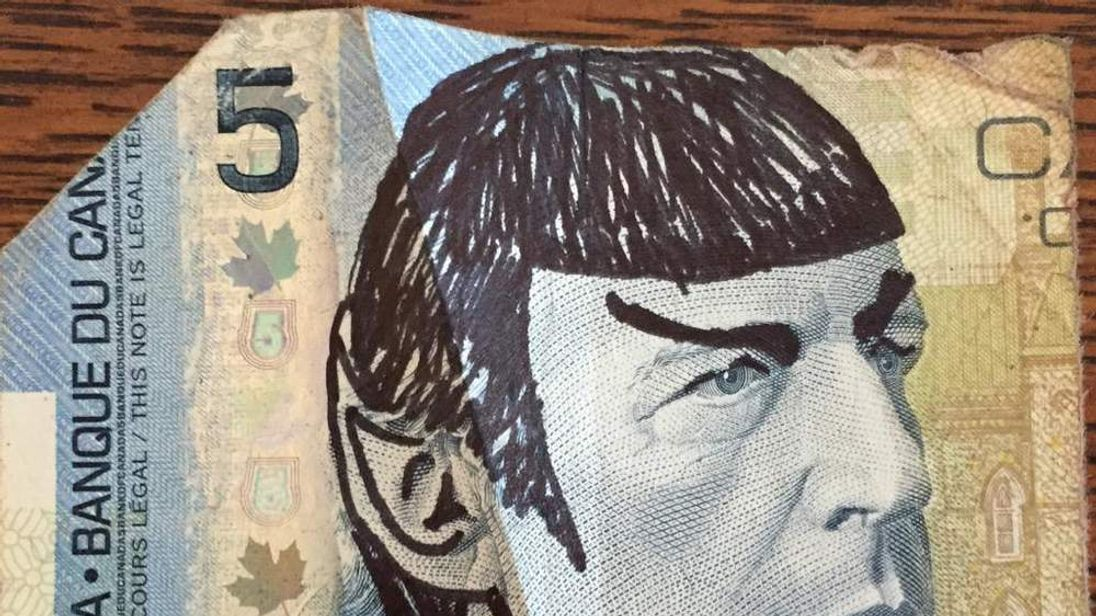 Picture of a Canadian $5 note that has been 'Spocked'. Image courtesy of Simon Williams