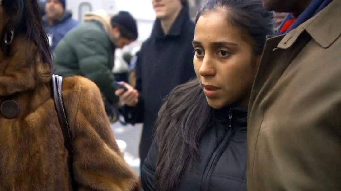 Nancy Gonzalez with her lawyer