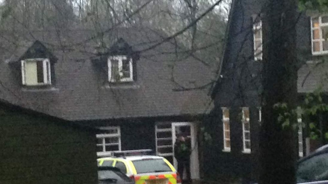 Police outside the home of Peaches Geldof in Wrotham, Kent.