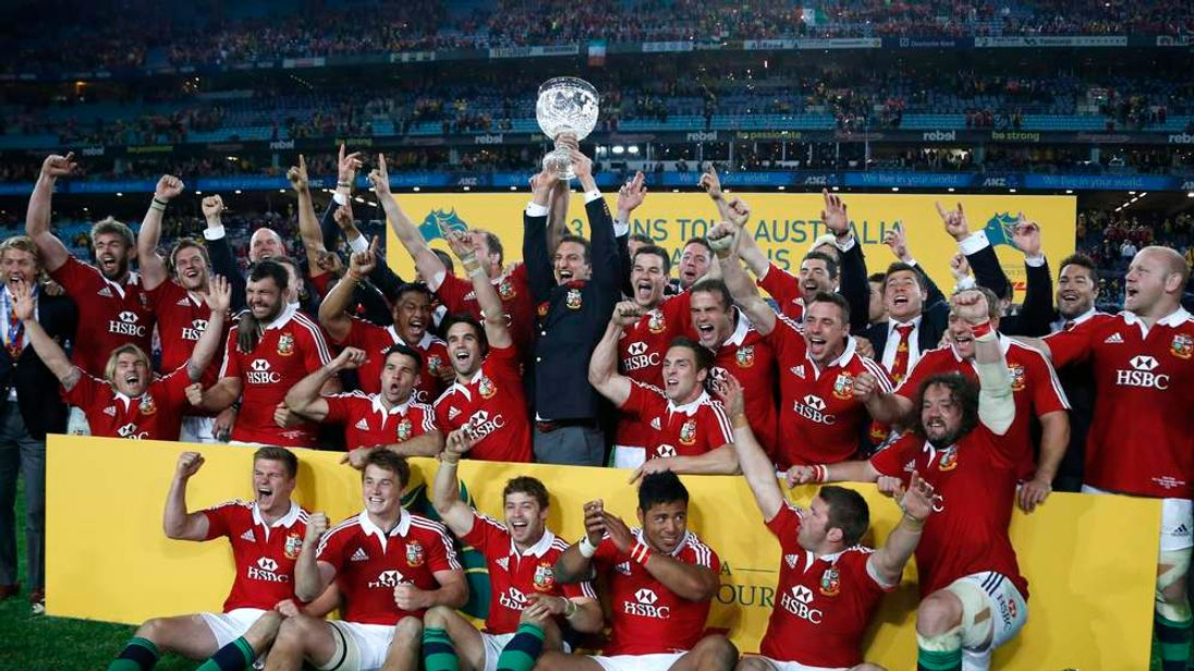 British and Irish Lions' players celebrate winning their series over Australia Wallabies after their third and final rugby union test match at ANZ stadium in Sydney
