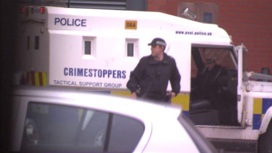 Police van arrives at Belfast court