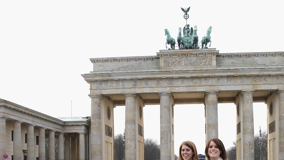 Princesses Beatrice And Eugenie launch the Great Britain Mini tour by Brandenburg Gate