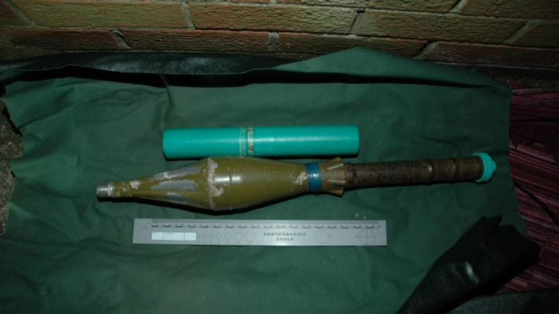 Police photo of warhead seized in West Belfast