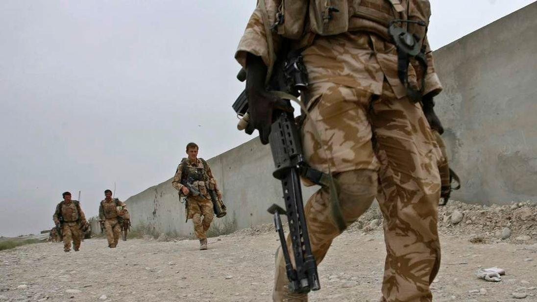British soldiers patrol the Sangin valley in the southern province of Helmand