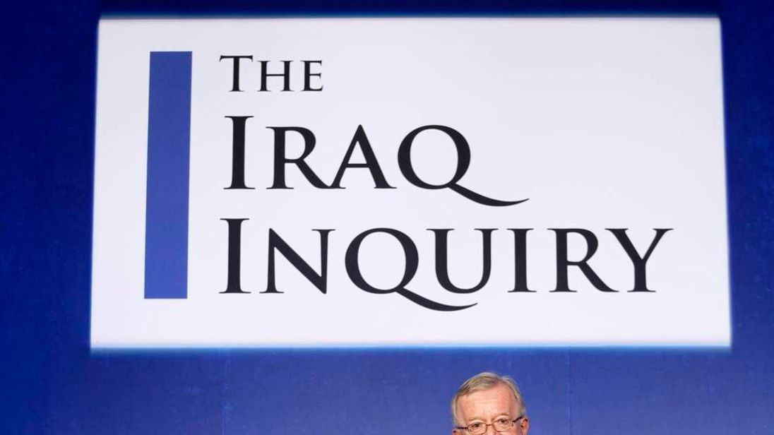 John Chilcot, the chairman of the Iraq Inquiry, speaks during a news conference in London