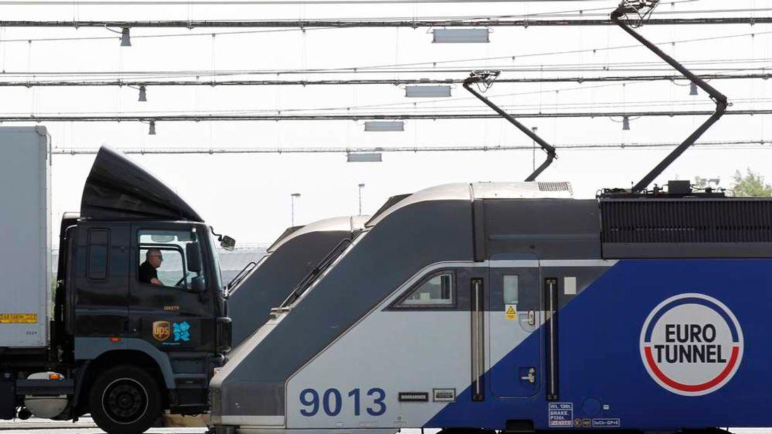 A truck boards in an Eurotunnel freight shuttle at the Eurotunnel terminal of Coquelles near Calais