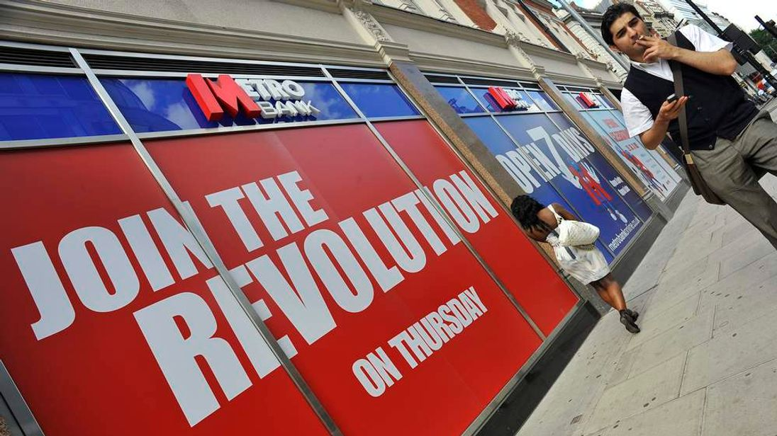 Metro Bank branch is seen in central London ahead of opening