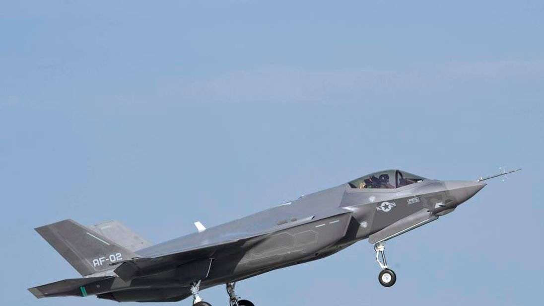 US Air Force handout photo of a F-35 test flight in Fort Worth