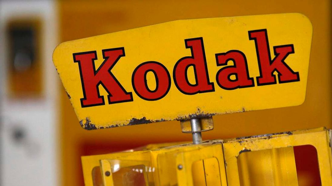 A Kodak film dispenser is seen in a photo store in London
