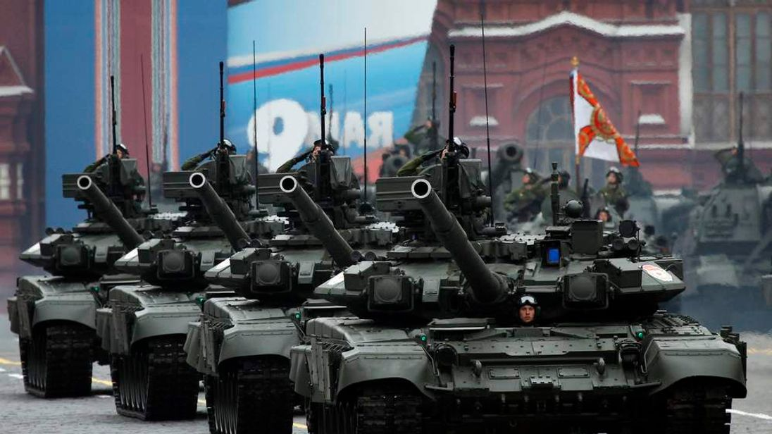 Column of Russian T-90 tanks takes part in the Victory Parade on Moscow's Red Square