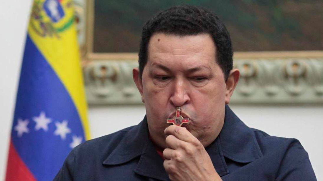 Venezuelan President Hugo Chavez speaks during a national broadcast at Miraflores Palace in Caracas