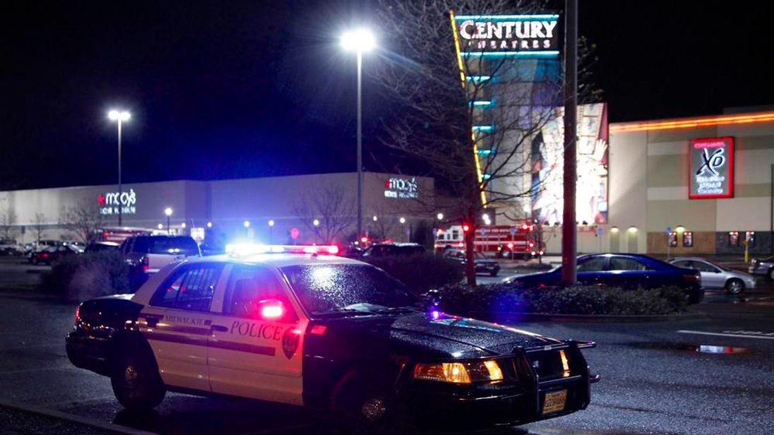 Police and emergency vehicles surround the Clackamas Town Center shopping mall in Portland