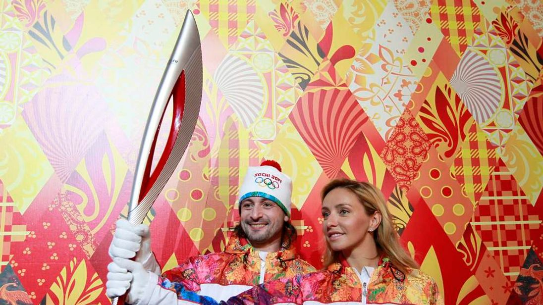 The Olympic torch for the Sochi 2014 Winter Olympics
