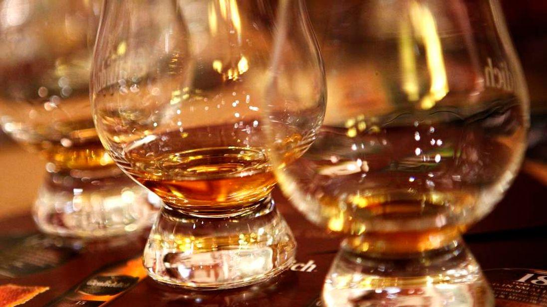 Glasses of scotch whisky