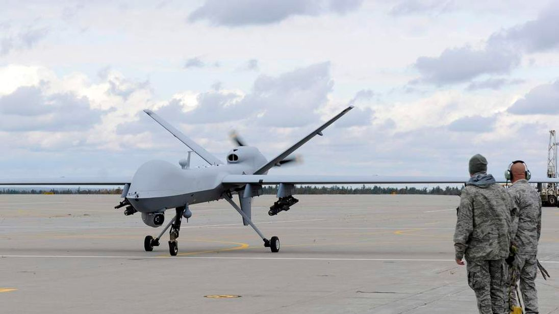 A U.S. Air Force MQ-9 Reaper unmanned aerial vehicle prepares to take off from Wheeler-Sack Army Airfield at Fort Drum, N.Y. in this October 18, 2011 USAF handout photo