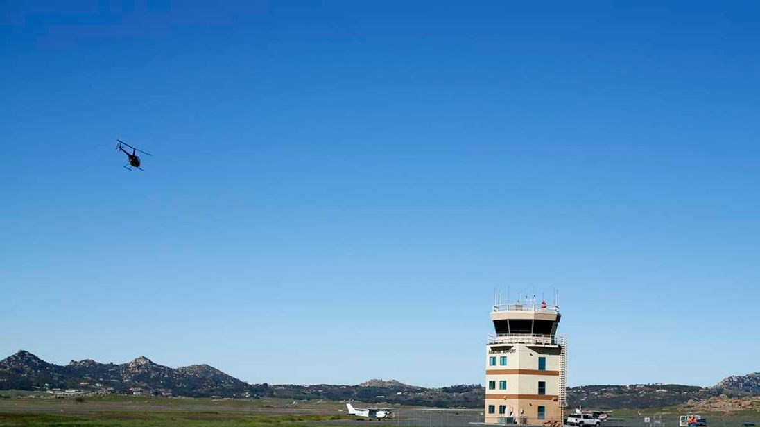 The air traffic control tower is shown at the Ramona Airport in Ramona, California