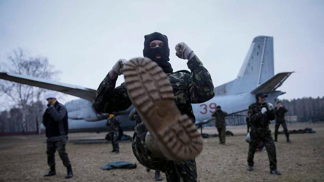 "Members of a ""Maidan"" self-defense battalion take part in a training at a Ukrainian Interior Ministry base near Kiev"