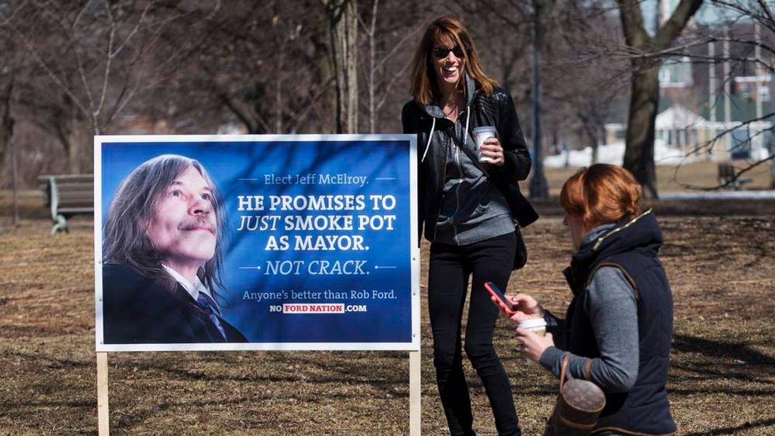Fake Toronto mayoral campaign signs mock Rob Ford