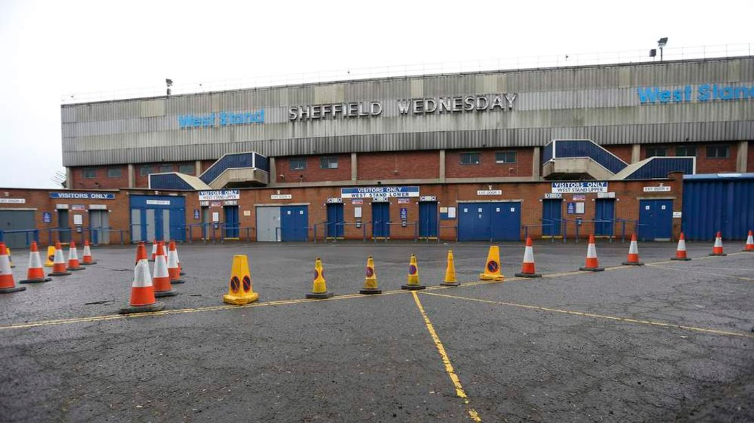 Cones mark out the original sites of turnstiles, walls and a service road at the Leppings Lane area during a visit by Hillsborough Inquest jurors to the Hillsborough stadium