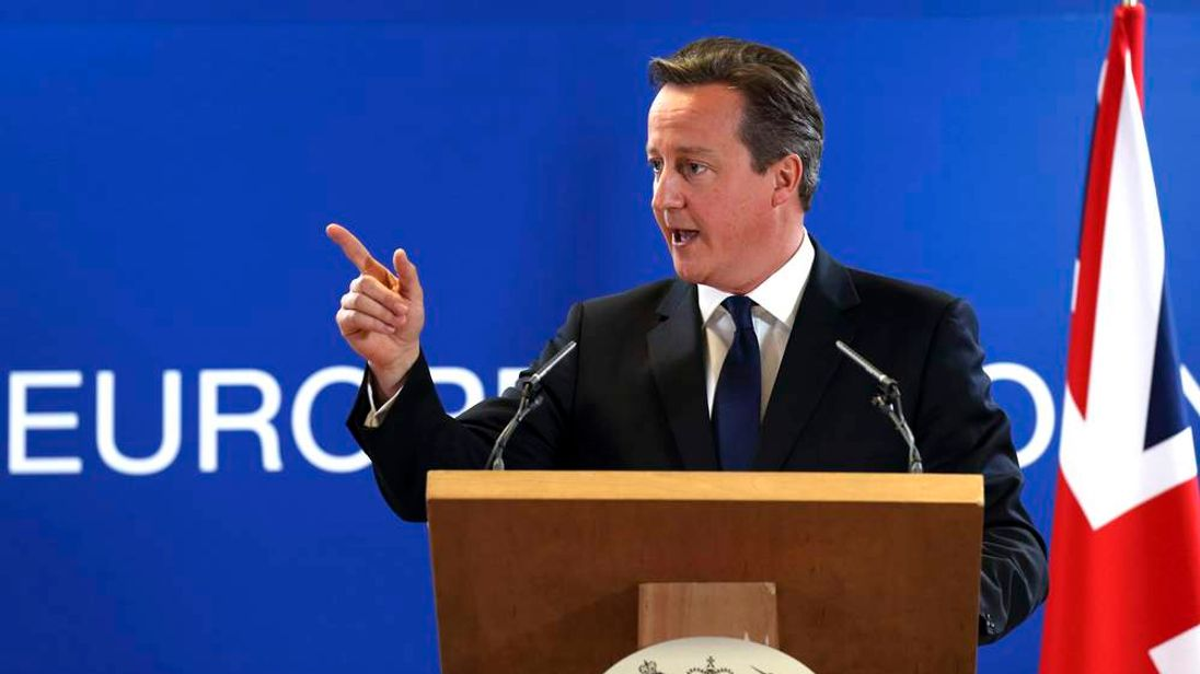 Britain's PM David Cameron holds a news conference during EU leaders summit in Brussels