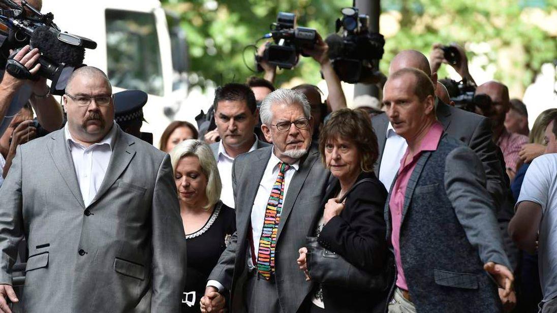 Entertainer Rolf Harris arrives for sentencing at Southwark Crown Court in London