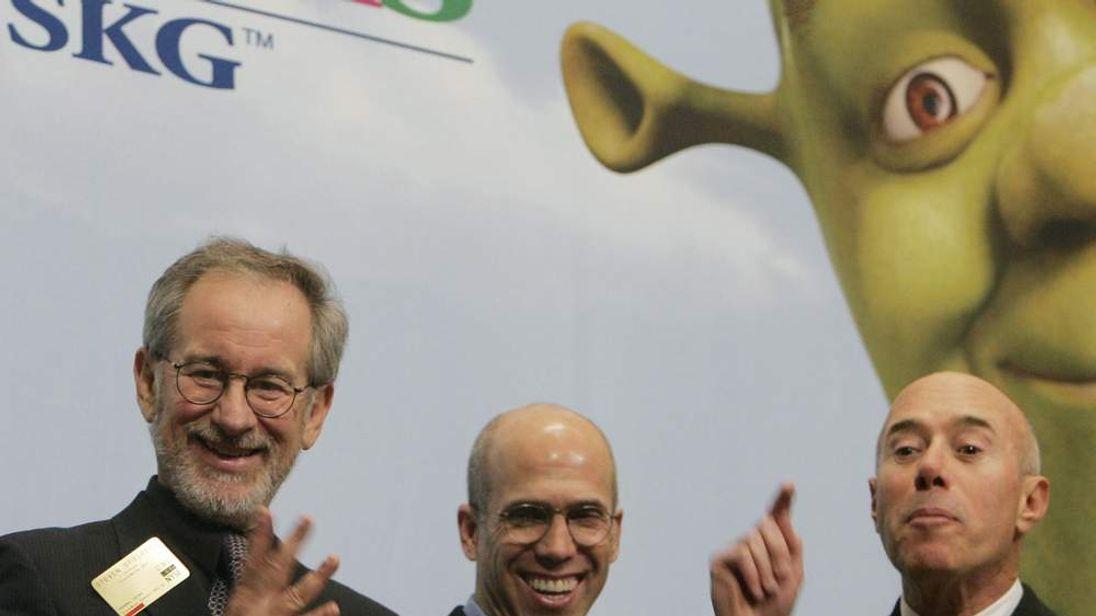 DreamWorks founders David Geffen (R), Jeffrey Katzenberg (C), and director Steven Spielberg (L)