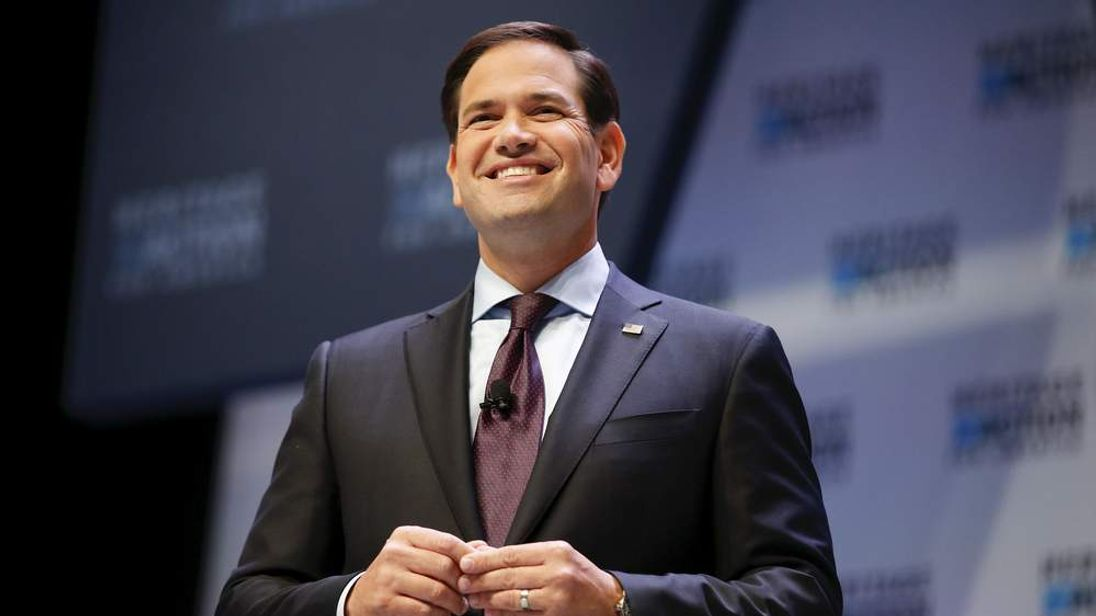 U.S. Republican presidential candidate Rubio laughs while speaking during the Heritage Action for America presidential candidate forum in Greenville
